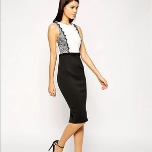 Asos black/white pencil dress, sz 4